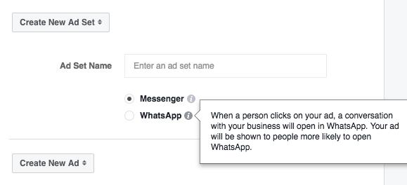 Facebook Anzeigenziel - Messages WhatsApp und Messenger