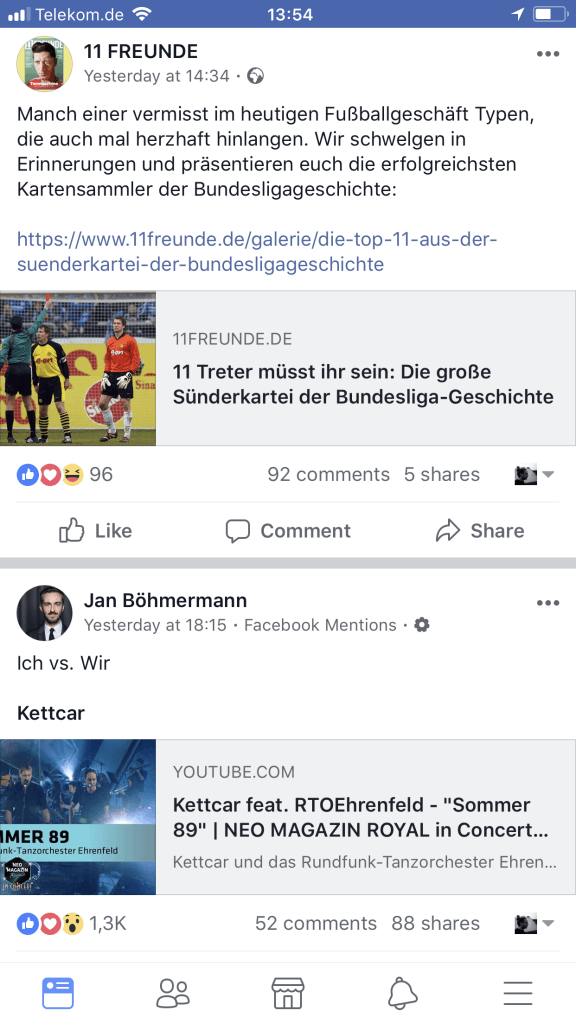 Facebook News Feed - Darstellung on Links mobile ios