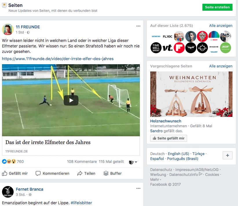 Facebook News Feed Varianten - Seitenfeed