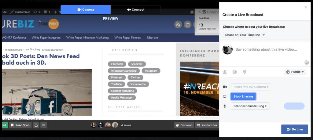 Facebook Screen Sharing mit Facebook Live