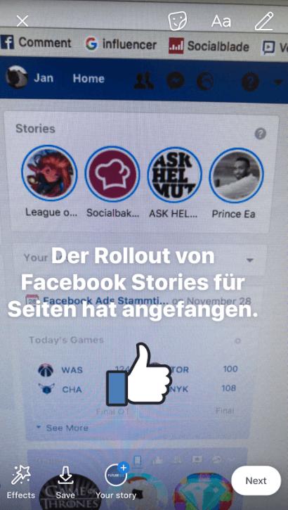 Facebook Stories für Facebook Seiten
