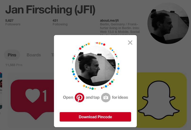 Pinterest Pincodes für Profile