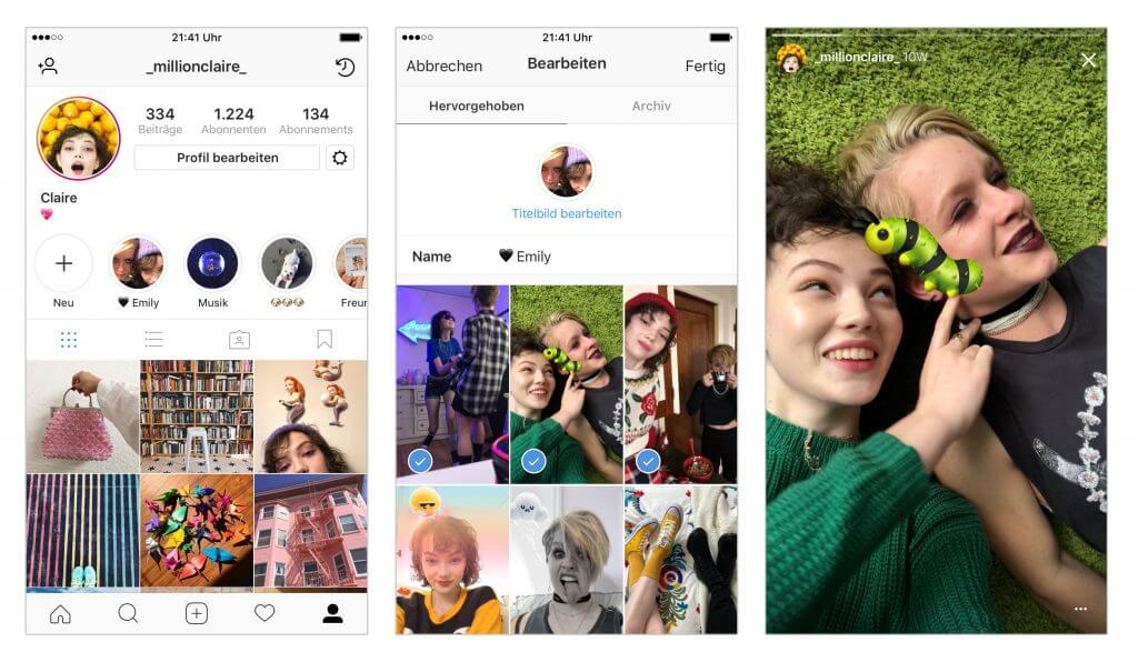 Instagram Stories Highlights - Stories Leiste Instagram Profile