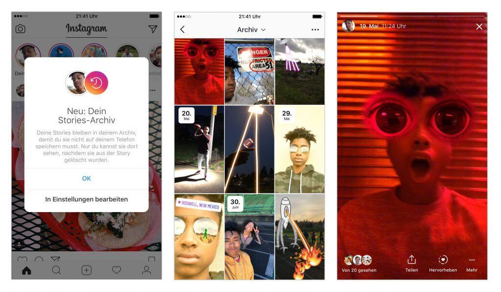 Instagram Stories - Stories Archiv