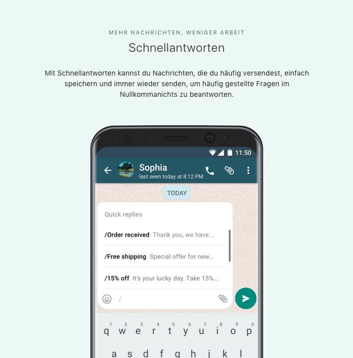 WhatsApp Business App Funktionen für Unternehmen