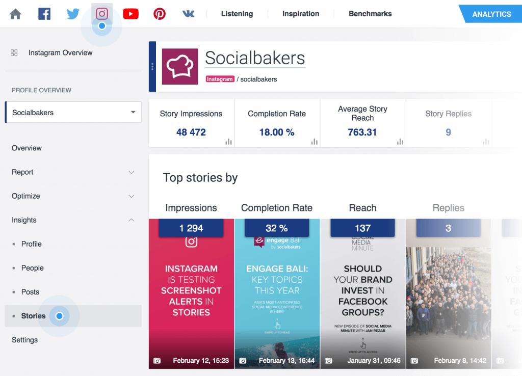 Instagram Stories Statistiken - Socialbakers