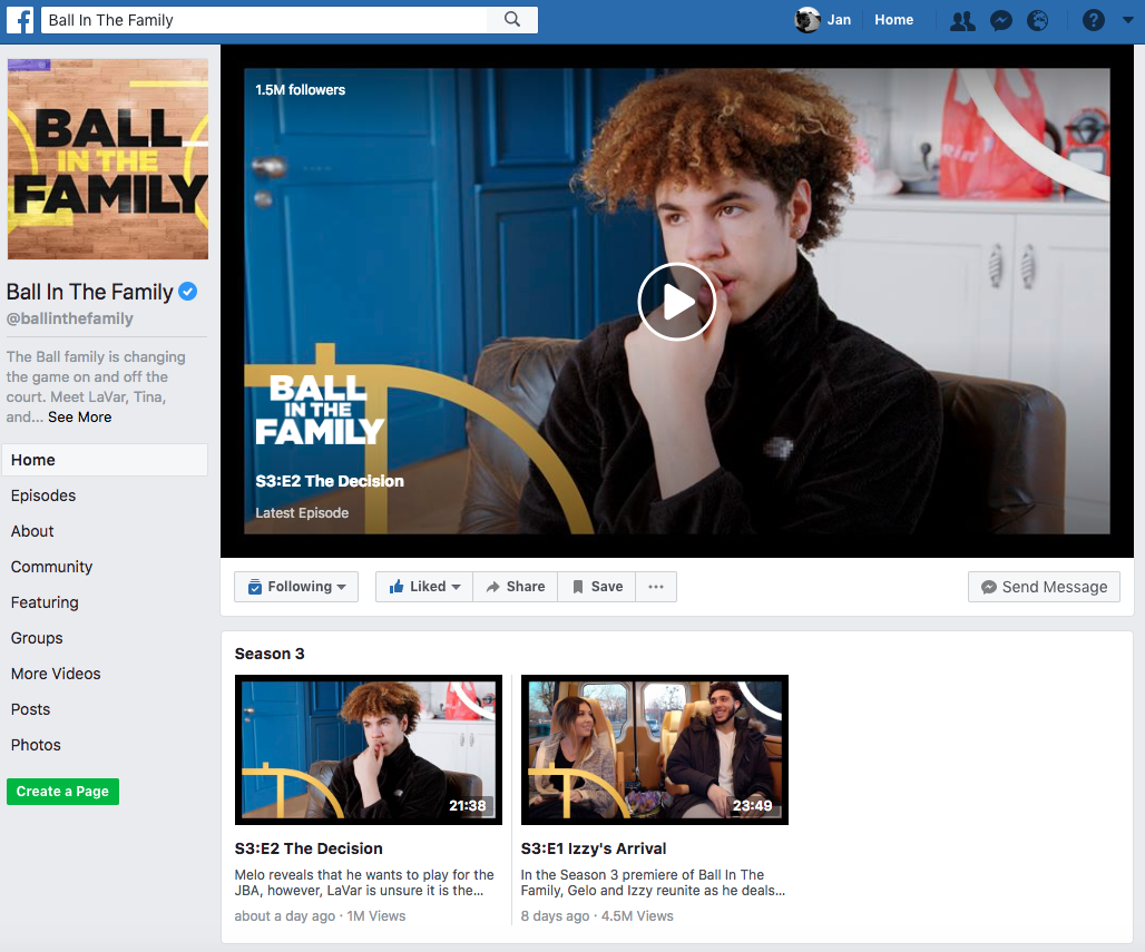 Facebook Watch Ball in the family