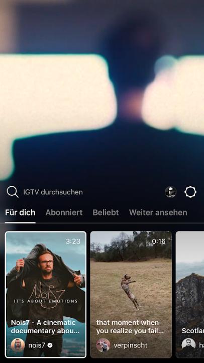 IGTV Instagram-Startseite