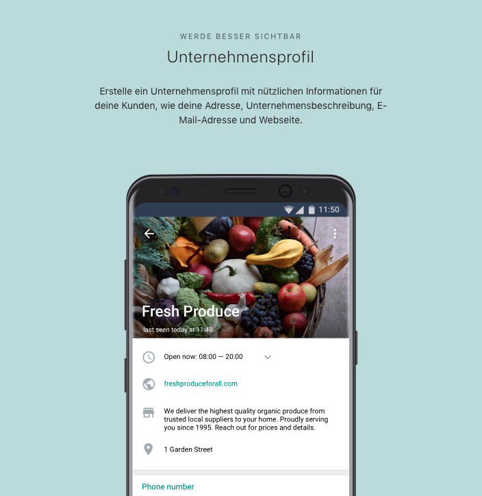 WhatsApp-Business-API-Unternehmensprofil