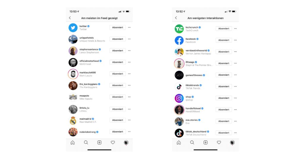 Instagram-Konten-wenigste-interaktionen