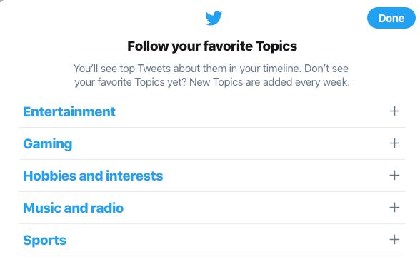 Twitter-Topics-Auswahl