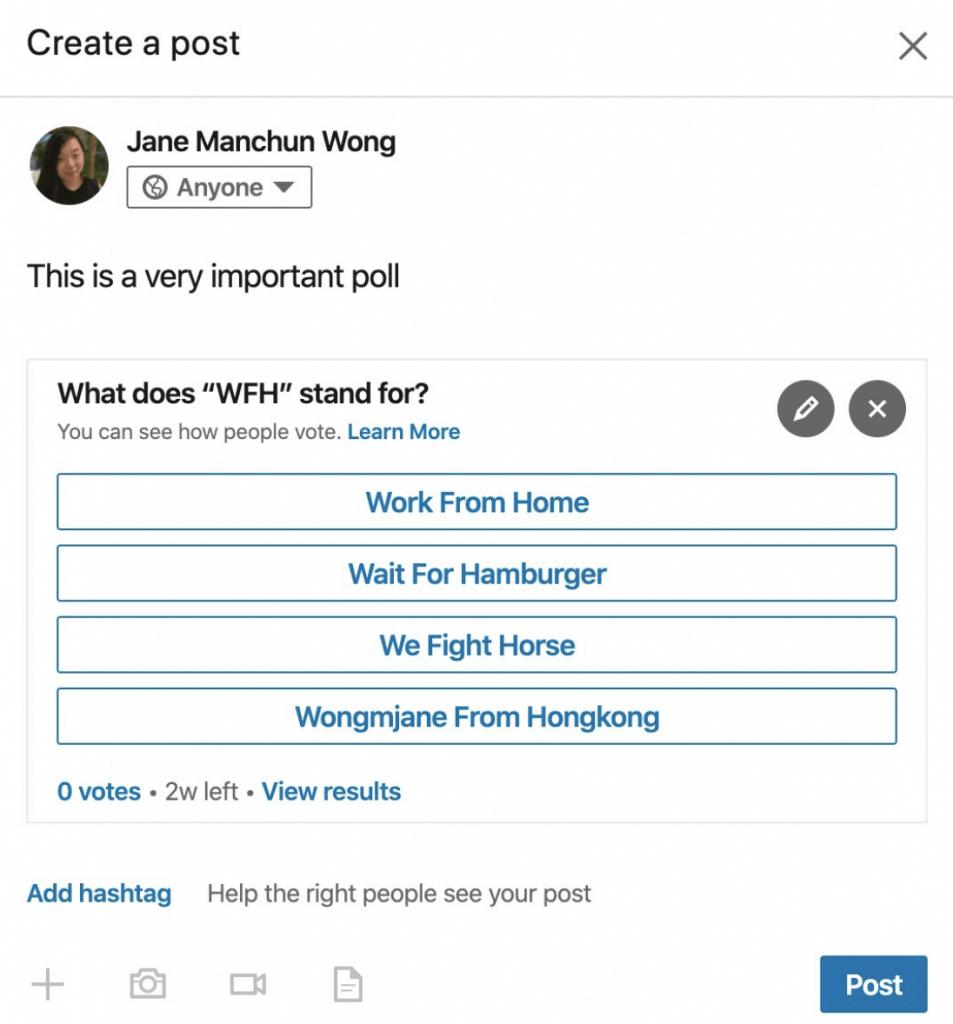 Neues LinkedIn Feature: Umfragen für den LinkedIn Feed